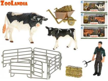 Zoolandia kráva s telátkem a doplňky 4druhy v krabičce