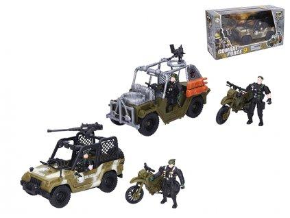 Auto vojenské 22cm na volný chod s motorkou 12cm a 2ks postaviček v krabičce