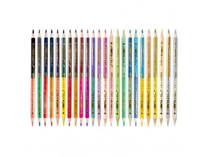 TWIN Trojhranné oboustranné pastelky, 24 ks/48 barev/sada + 1 zlatá a 1 stříbrná barva