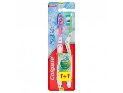 Colgate Max White Zubní kartáček střední 1 + 1 ks
