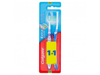 Colgate Extra Clean Střední zubní kartáček 1 + 1 ks