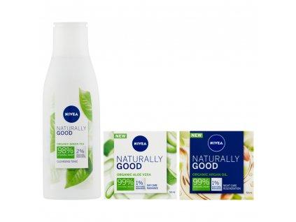 Nivea Naturally Good dárková sada pro ženy 3 ks