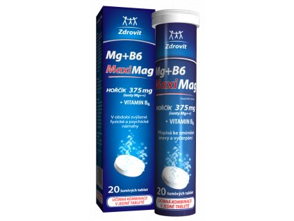 Zdrovit MaxiMag Hořčík 375 mgB6 šumivé tablety 20 tbl