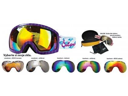 Brýle sjezdové SULOV HORNET, dvojsklo, fialové