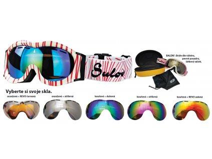 Brýle sjezdové dětské SULOV MONTY, dvojsklo, bílo-červené