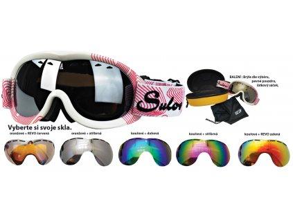 Brýle sjezdové juniorské SULOV PASSO, dvojsklo, bílo-červené