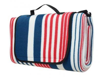 Pikniková deka CALTER QUOD, 1.5x1.3m, pruhy modro-červené