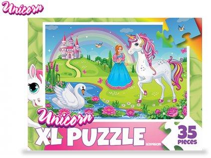 Puzzle jednorožci 62x46cm 35dílků v krabičce