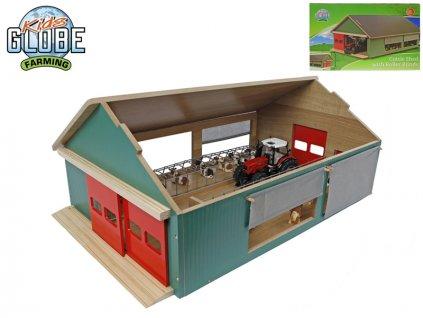 Stáj pro koně dřevěná 64x42x26,5cm 1:32 v krabičce