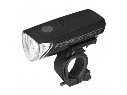 FORCE - světlo přední TRIPLE 3 diody+baterie, černé