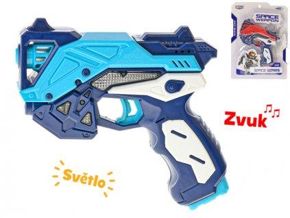 Vesmírná pistole 17cm na baterie se světlem a zvukem 2barvy na kartě