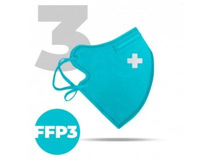 3 x Český bezpečný nano respirátor FFP3 modrý