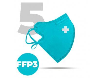 5 x Český bezpečný nano respirátor FFP3 modrý