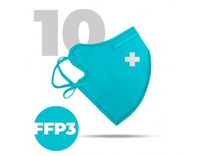 10 x Český bezpečný nano respirátor FFP3 modrý