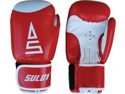 Box rukavice SULOV kožené, červeno-bílé