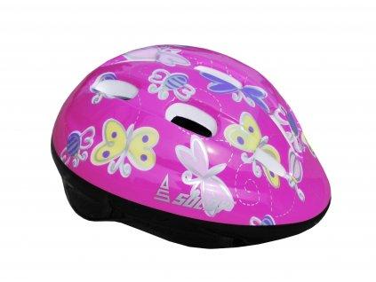 Dětská cyklo helma SULOV JUNIOR, tm. růžová s motýlky