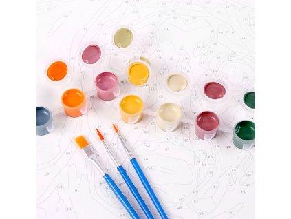 zuty Malování podle čísel - PEJSEK V OKNĚ A VÝHLED NA EIFFELOVKU Rozměr: 40x50 cm, Rámování: vypnuté plátno na rám