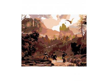 zuty Malování podle čísel - LOVCI V HORÁCH Rozměr: 40x50 cm, Rámování: vypnuté plátno na rám