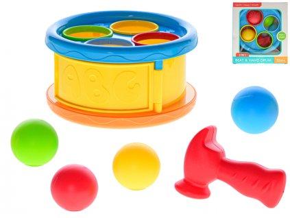 Zatloukátko/bubínek 17cm s kladívkem a míčky 4ks 12m+ v krabičce