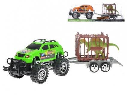 auto terenni s privesem 39cm na setrvacnik s kleci a dinosaurem 2barvy v krabicce