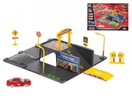 garaz s myckou a servisem 24x24x11cm auto kov 7 5cm volny chod v krabicce