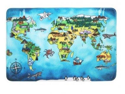 Protiskluzový kusový koberec World map - 76,5x117 cm