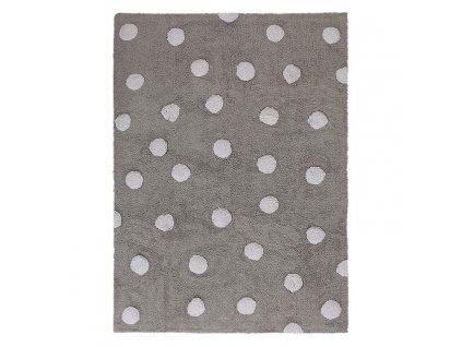 Lorena Canals koberce Pro zvířata: Pratelný koberec Polka Dots Grey-White - 120x160 cm