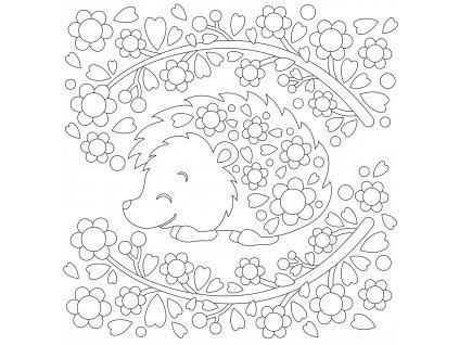 Šablona Ježeček s květinami