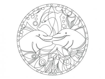 Šablona Mandala s delfíny 2