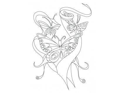 Šablona Motýlci poletující ve stuhách