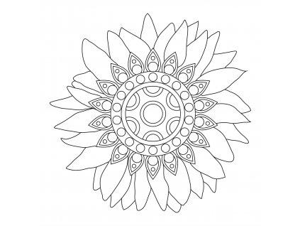 Šablona Mandala se slunečnicí 2