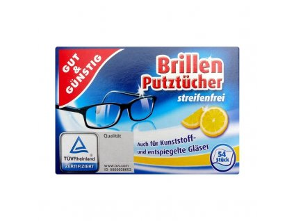 Gut und Günstig (Německo) G&G Vlhčené čisticí ubrousky na brýle 54ks