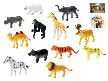 Zvířátka safari 6,5-9cm 12ks v sáčku
