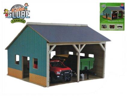 Garáž dřevěná farma pro traktory 55x53x38cm 1:16 v krabičce