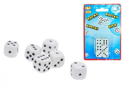 Kostky hrací 16mm 6ks na kartě