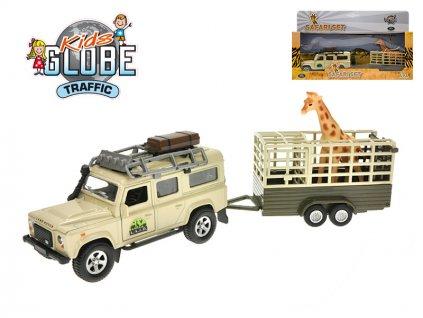 Land Rover Defender 14cm kov na zpětný chod s přívěsem 14cm a žirafou v krabičce