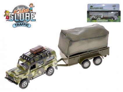 Auto Land Rover Defender Military 14,5cm kov zpětný chod s přívěsem s plachtou v krabičce