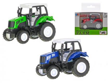 Traktor 9cm kov 1:43 zpětný chod 3barvy v krabičce