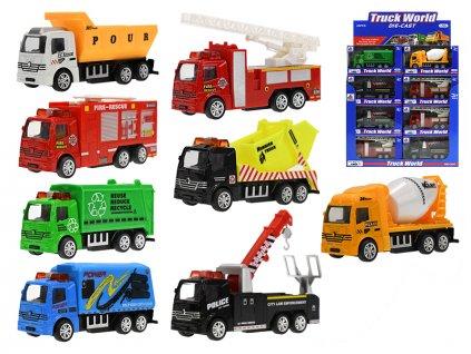 Auto nákladní kov 10cm 1:55 zpětný chod 8druhů v krabičce 24ks v DBX