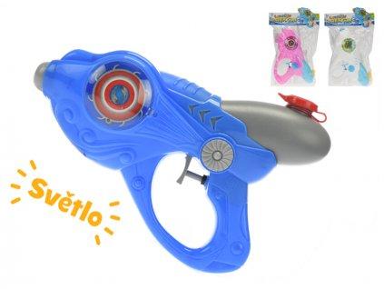 Vodní pistole 26cm na baterie se světlem 3barvy v sáčku