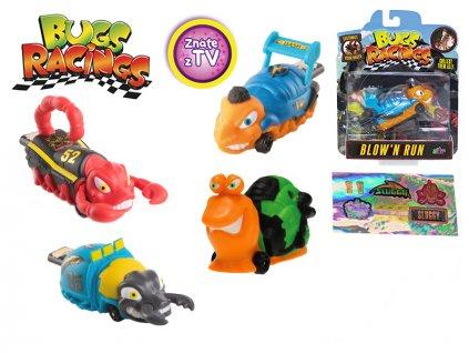 Bugs Racings 9cm foukni a jeď se samolepkou a terčem 8druhů na kartě
