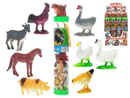 Zvířátka farma 16ks 3-6cm s doplňky v tubě 12ks v DBX