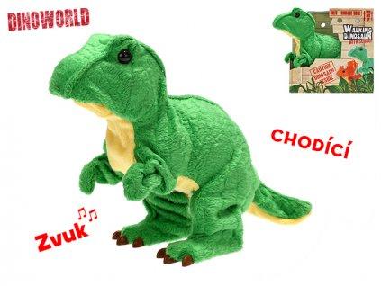 Tyranosaurus Rex plyšový 18cm na baterie se zvukem chodící 12m+ v krabičce