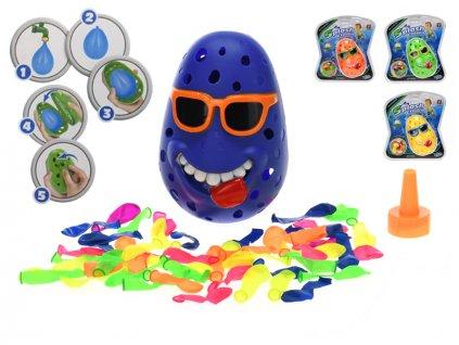 Vodní hra klaun s 50ks vodních bomb 4barvy na kartě