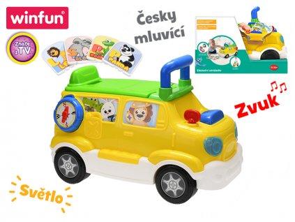 Auto edukační/odrážedlo 42x22x30 česky mluvící na baterie se světlem a zvukem 18m+ v krabičce