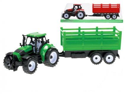 Traktor s vlečkou 38cm na setrvačník 2barvy v krabičce