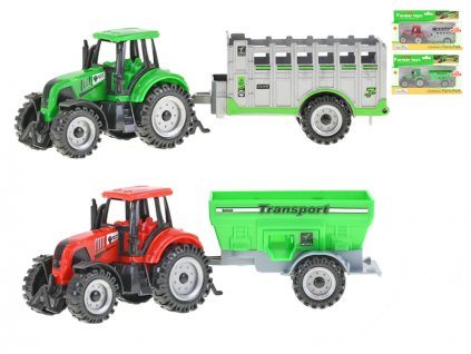 Traktor s vlečkou 17,5 -20cm volný chod 3barvy 2druhy v krabičce