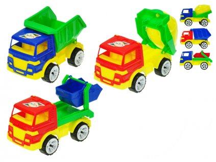 Auto stavební 15-16cm volný chod 3druhy 2barvy