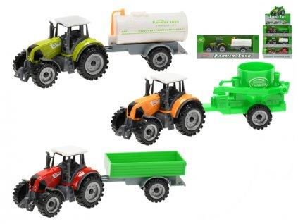 Traktor kov 19cm s přívěsem volný chod 3barvy v krabičce 12ks v DBX