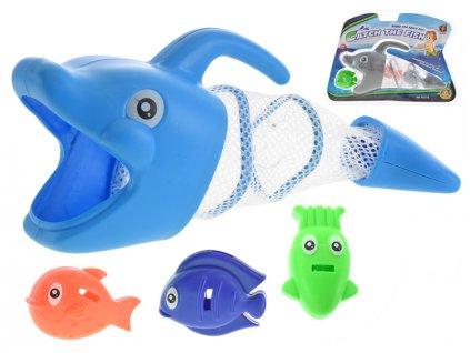 Vodní hra - delfín 27cm + 3rybičky 2barvy v blistru